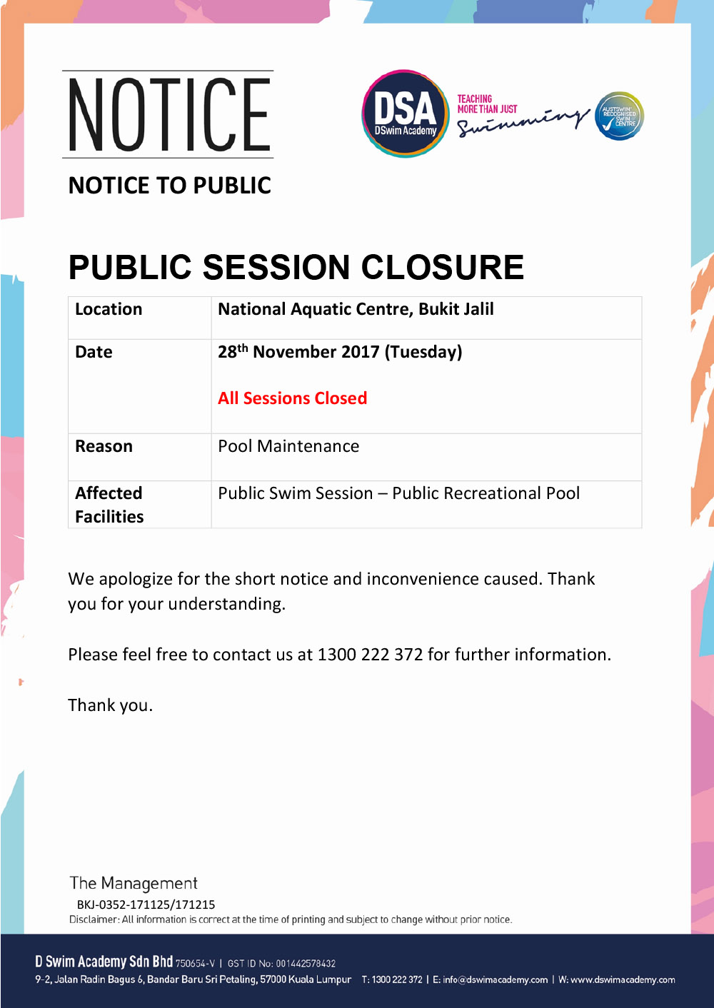 Public-Session-Closure