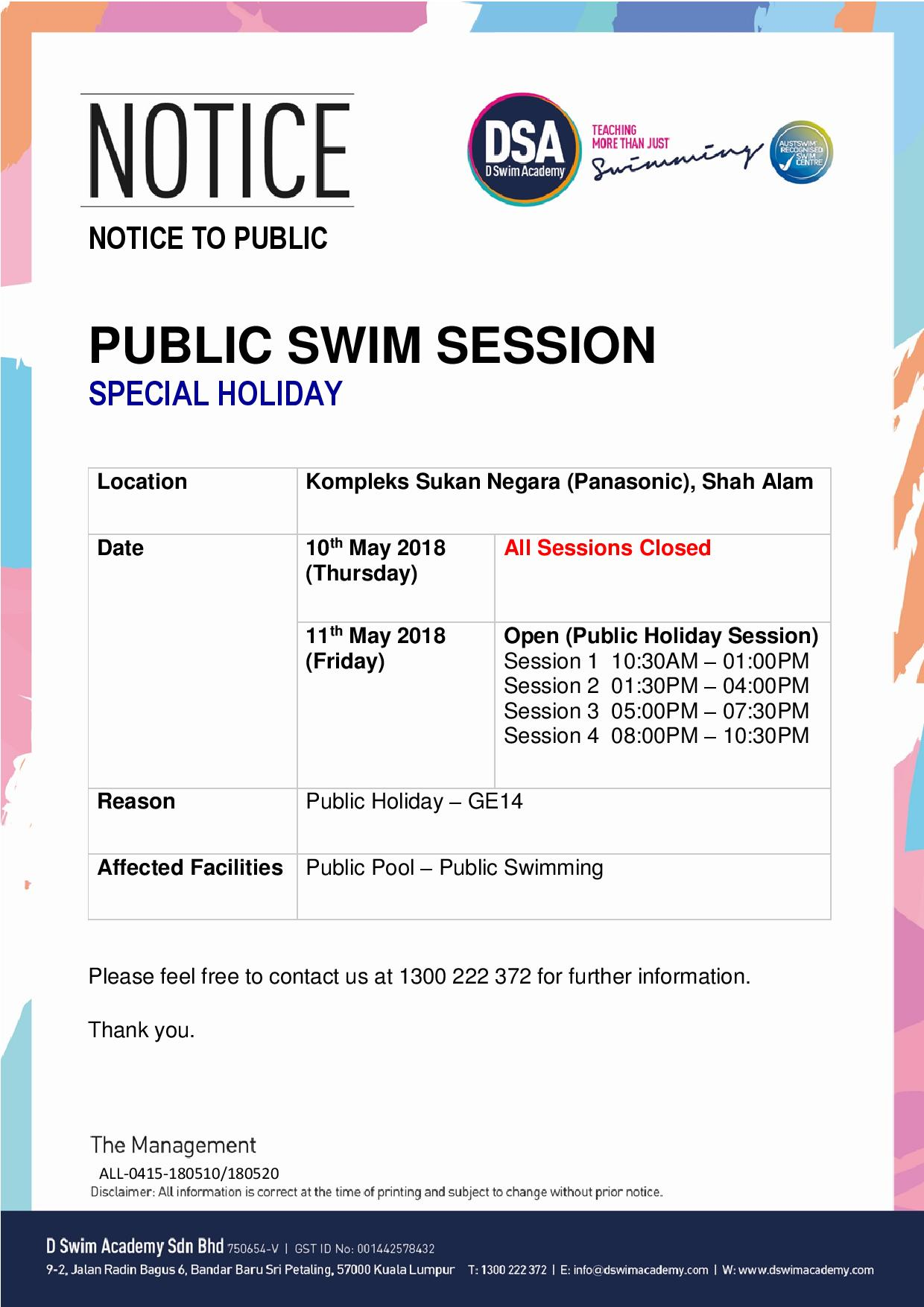 Public Swim (GE14 - Special Holiday)-Panasonic