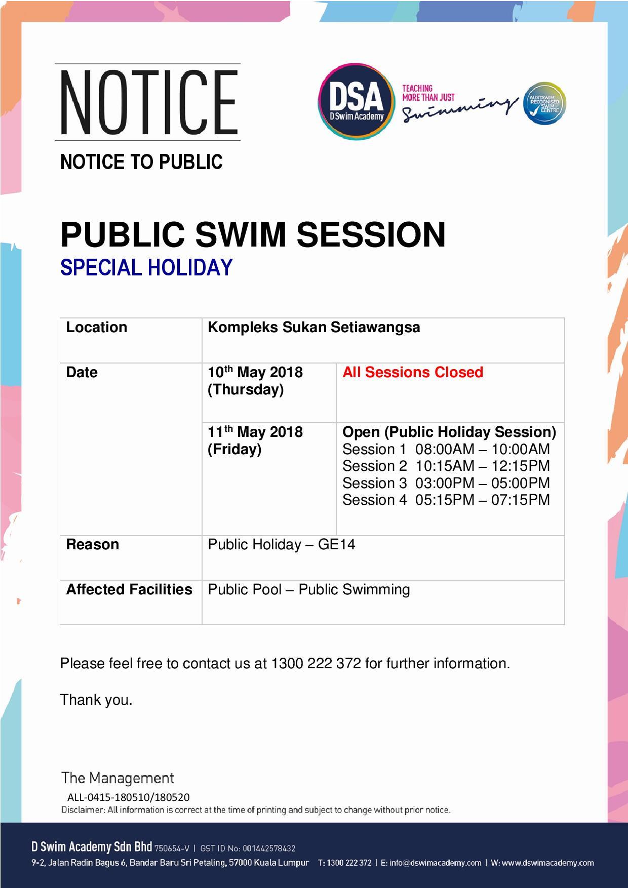 Public Swim (GE14 - Special Holiday)-Setiawangsa